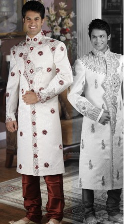 DTWS672 Off White And Indian Red Italian Suiting Material Readymade Sherwani