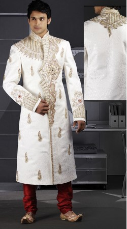 DTWS772 Off White And RedItalian Suiting Material Readymade Sherwani