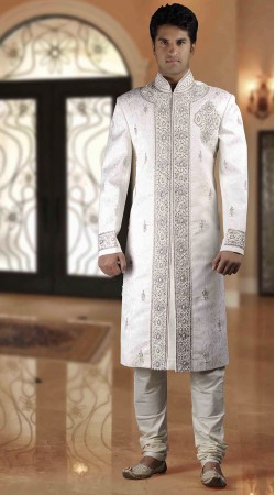 DTWS872 Off White Italian Suiting Material Readymade Sherwani