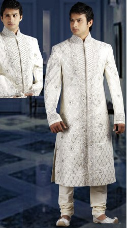 DTWS972 Off White Italian Suiting Material Readymade Sherwani
