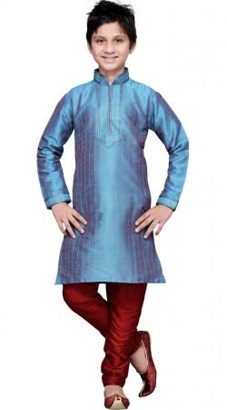 Dual Tone Blue Art Silk Kid Boy Kurta Pajama GR12510