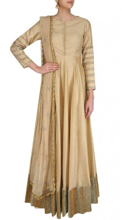 Dusty Cream Silk Floor Length Anarkali With Golden Broad Border SUUDS46626