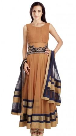 Dusty Orange Net Party Wear Salwar Kameez With Navy Blue Dupatta SU21111