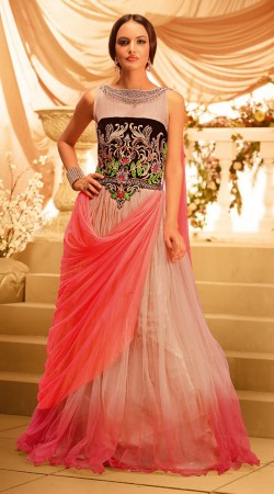 Dusty Peach And Salmon Soft Net Designer Indowestern Long Gown BR105991