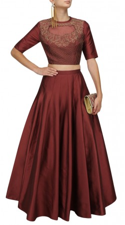 Dusty Red Silk Plus Size Crop Top Lehenga SUUDL29227