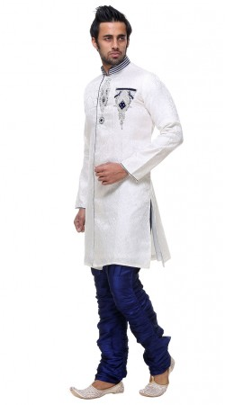 Elegance White Brocade Indo Western Sherwani With Hand Work GR130804