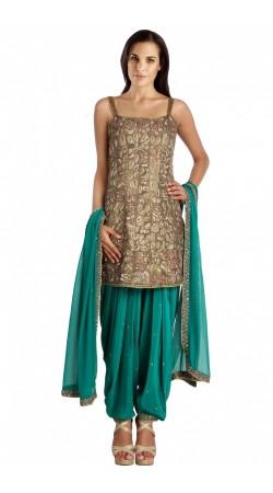 Embroidered Beige And Firozi Silk Patiala Salwar Kameez SUMS112