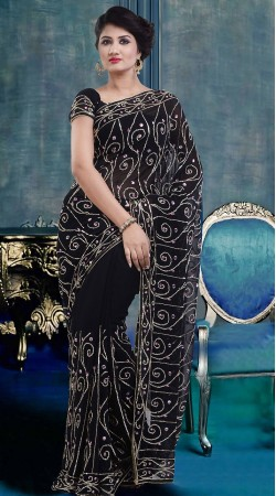 Embroidered Black Faux Georgette Exclusive Saree With Blouse ZP4104