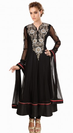 Embroidered Black Net Readymade Plus Size Salwar Kameez SU16010