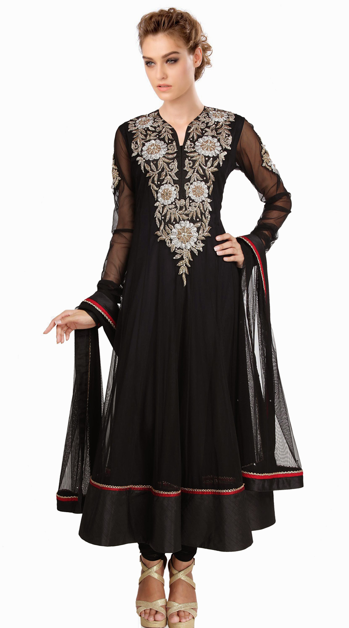 Embroidered Black Readymade Plus Size Kameez Su16010