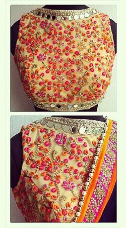 Embroidered Cream Premium Fabric Designer Blouse For Saree BP3409