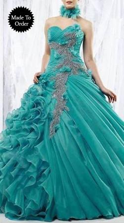 Embroidered Firozi Chiffon Replica Designer Wedding Gown SMDS00W
