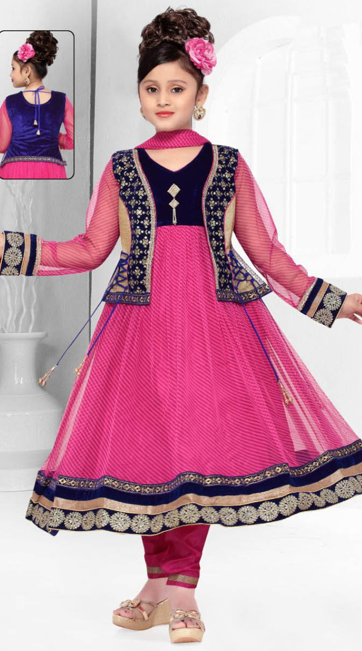 Pink Net Saree: Embroidered Koti Style Pink Net Kids Anarkali DT300941
