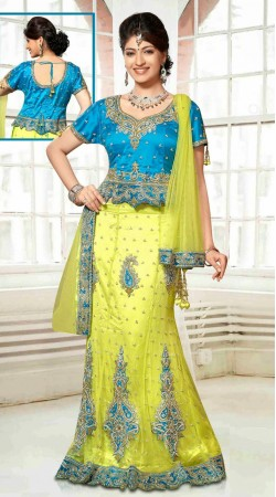 Embroidered Lime Green And Light Blue Net Wedding Lehenga Choli DT90539