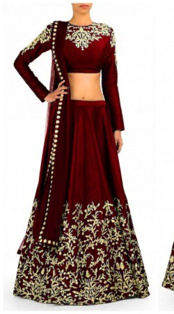 Embroidered Maroon Net And Raw Silk Lehenga Choli With Dupatta THS223A01