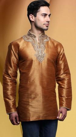 Embroidered Neck Brown Dupian Silk Men Short Kurta DTDK563