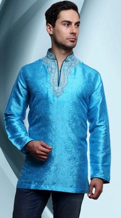 Embroidered Neck Sky Blue Kela Resham Brocade Men Short Kurta DTDK1163