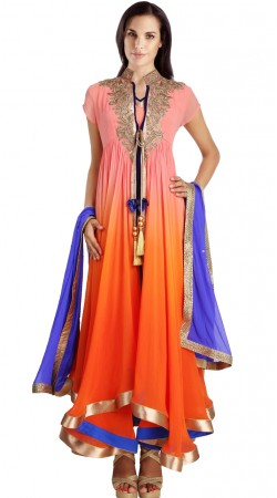 Embroidered Orange Georgette Readymade Party Wear Salwar Kameez SU19810