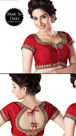 Embroidered Red Chanderi Dori Work Designer Blouse For Saree VPBDB16