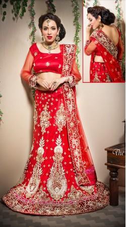 Embroidered Red Net Bridal Lehenga Choli With Dupatta LD00505