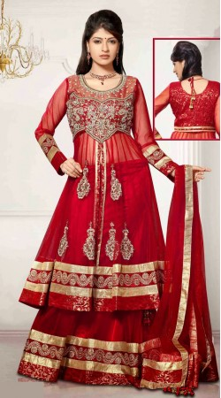 Embroidered Red Net Long Choli Lehenga With Matching Dupatta DT90839