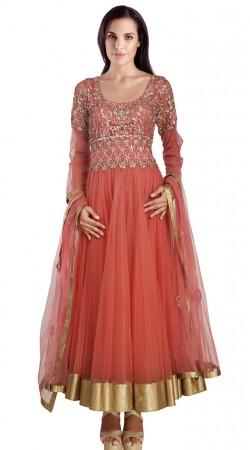 Embroidered Rusty Orange Net Readymade Party Wear Salwar Kameez SU17610
