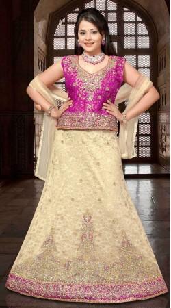 Embroidered White And Purple Net Wedding Lehenga Choli DT92539