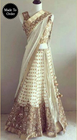 Embroidered White Net Replica Wedding Lehenga Choli With Dupatta SMDS00D