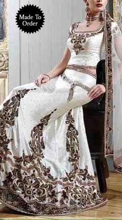 Embroidered White Satin Bridal Lehenga Choli With Net Dupatta SMDS00B