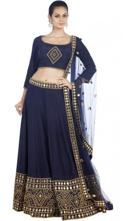 Embroidery And Mirror Work Blue Silk Plus Size Lehenga SUUDL28627
