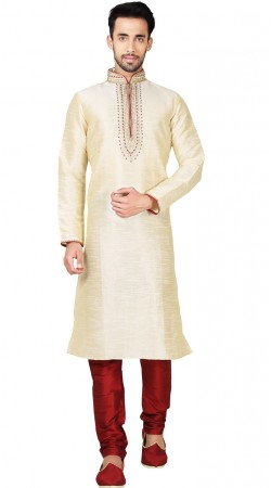 Embroidery Work Cream Art Silk Men Kurta Pajama GR148717