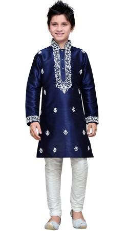Embroidery Work Dark Blue Art Silk Boy Kurta Pajama GR15912