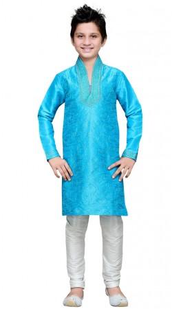 Embroidery Work Firozi Blue Art Silk Kid Boy Kurta Pajama GR18614
