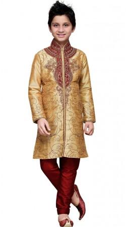 Embroidery Work Golden Beige Art Silk Boy Sherwani GR12210