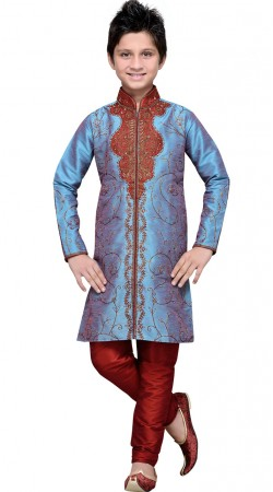 Embroidery Work Light Blue Art Silk Boy Sherwani GR11308