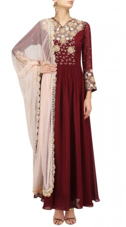 Embroidery Work Maroon Georgette Anarkali Suit SUUDS47629