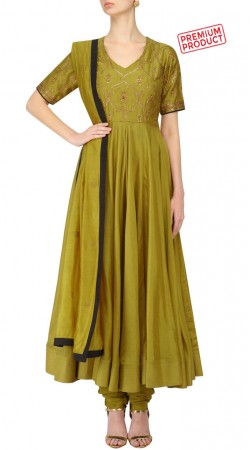Embroidery Work Mehendi Green Silk Anarkali Suit SUMS31621