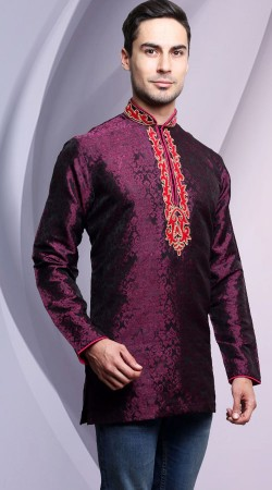 Embroidery Work Neck Purple Kela Resham Brocade Men Short Kurta DTDK1363
