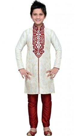 Embroidery Work Off White Art Silk Boy Sherwani GR12008