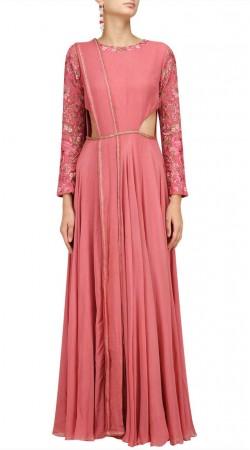 Embroidery Work Pink Anarkali Salwar Kameez SUUDS48729