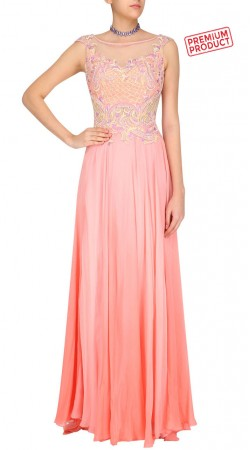 Embroidery Work Pink Plus Size Gown Style Suit SUMS33721