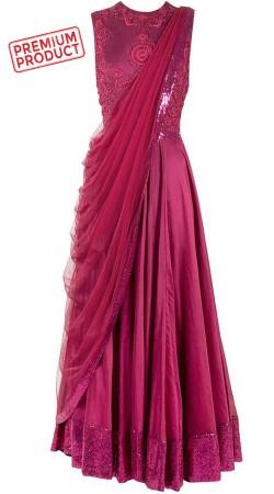 Embroidery Work Pinkish Purple Designer Saree Gown BP0846