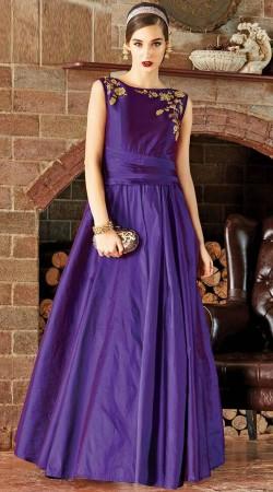 Embroidery Work Purple Art Silk Party Wear Gown WG88412