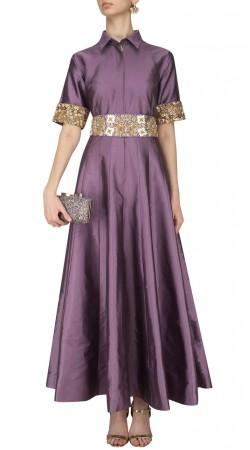 Embroidery Work Purple Silk Ankle Length Anarkali Suit SUUDS44126