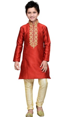 Embroidery Work Red Art Silk Boy Kurta Pajama GR14212