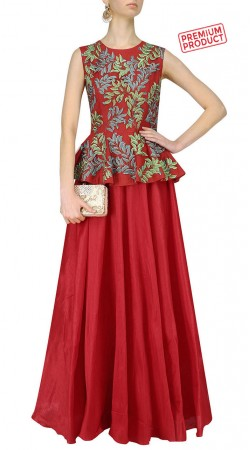 Embroidery Work Red Silk Peplum Anarkali Suit SUMS32221