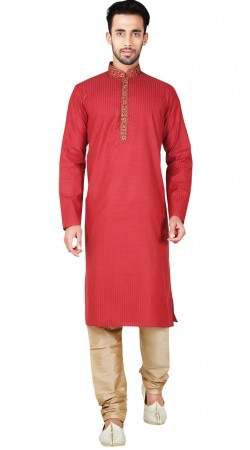 Embroidery Work Red Synthetic Kurta Pajama GR147515