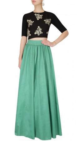 Embroidery Work Sea Green Silk Crop Top Lehenga SUUDL26125