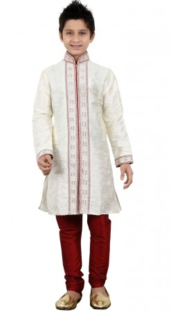 Embroidery Work White Art Silk Kid Boy Sherwani GR21412