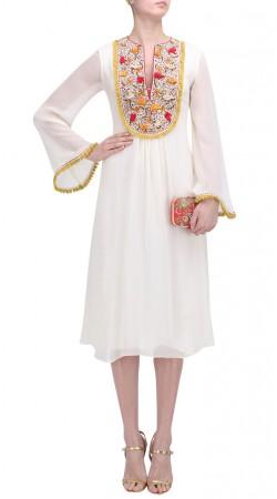 Embroidery Work White Umbrella Sleeves Kurti SUUDK18622